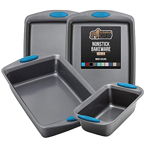 Gorilla Grip Bakeware Sets, Nonstick, Heavy Duty Carbon Steel, 4 Piece Kitchen Baking Set with Silicone Handles, 2 Large Size Cookie Sheets, 1 Medium Sized Oven Roaster Pan and 1 Loaf Pan, Aqua