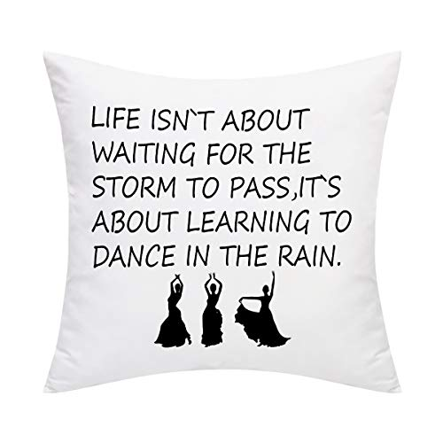 Inspirational Quote Throw Pillow Cover Life Isn't About Waiting for The Storm to Pass Pillow Cover Decorative Pillowcase for Sofa Bedroom Office Car