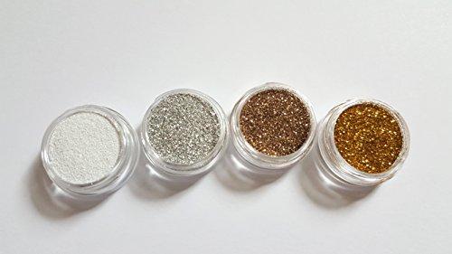 New Nail Art Set 4x Glitzerpulver Weiss/Silber/Champagner/Gold Glitter Staub Pulver Glitzer Puder Nageldesign Nagelkunst Einleger Zubehör