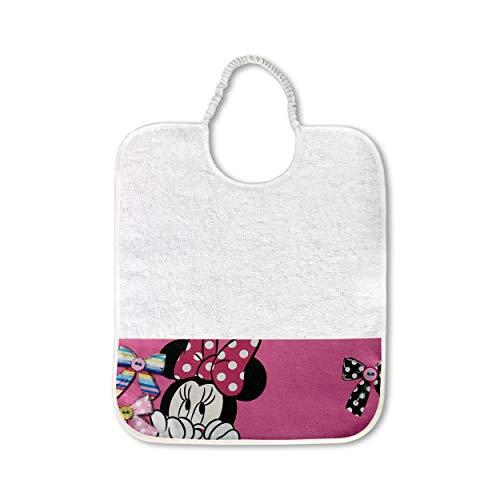 Panini Telti, Babero Disney para guardería, 100 % algodón, fabricado en Italia, 28 x 33 cm, juego de guardería para bordar para la comida y la merienda
