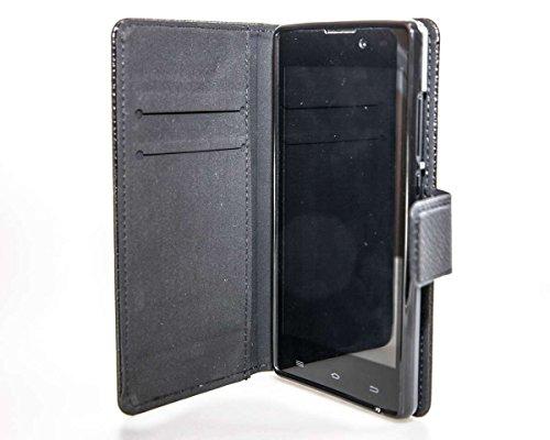 caseroxx Handy Hülle Tasche kompatibel mit Archos 50 Neon Bookstyle-Hülle Wallet Hülle in schwarz