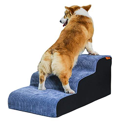 LXLA - Hundetreppen-Sicherheitsrampen, 3-stufige Haustierleiter für große Hunde, Cordbezug, abnehmbar und waschbar - 70 × 40 × 30 cm (Farbe : Grau Blau)