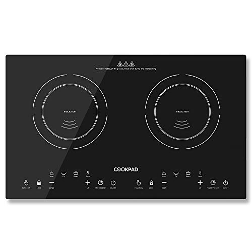 COOKAPD Portable Electric Stove Induction Cooktop,Electric Cooker with 2 Separate Heating Zones 120V, w/Kids Safety Lock Double Countertop Burner, Sensor Touch Control