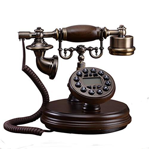 YYCHJU Teléfono con Cable Teléfono de la Vendimia Digital de Madera Teléfono Fijo Retro Europeo con identificador de Llamadas, retroiluminado, Manos Libres, Auriculares Colgantes para el hogar