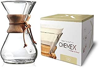 Chemex Classic Series, Pour-Over Glass Coffeemaker, 8-Cup with Chemex Bonded Circle Coffee Filters, 100 Count
