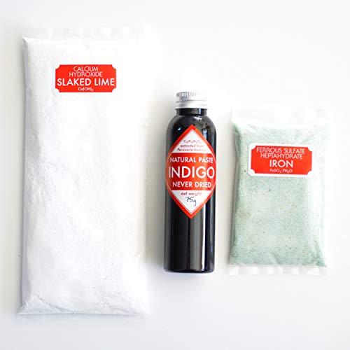 Natural Indigo Vat Ingredients : Indigo, Iron, and Lime