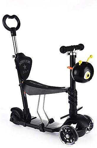 Mishuai Scooter Scintillant Clignotant pour Enfants à Trois Roues Scooter Cinq-en-Un Glissant Multi-Fonction ( Couleur   Noir )