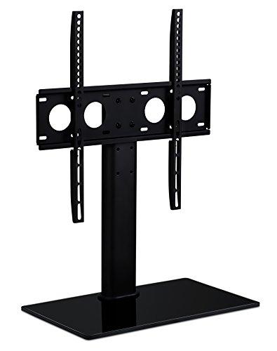 Universal Tabletop TV Stand Base - Replacement VESA Desktop Center Mount Bracket with AV Media Glass Shelf, Fits 27, 29, 30, 32, 37, 40, 47, 50, 55 Inch TVs, Height Adjustable, VESA 400x400, Black