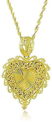 Yiffshunl Collar Mujer Collar Romántico y Elegante Cadena de Cobre Dorado Flores Corazón Corazón En Forma de Corazón Collar Colgante para Mujer Damas Boda Bijouterie