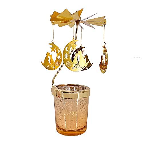 GISELA D Castiçal giratório de metal com castiçal de vidro, suporte giratório para luz de chá para casa, festivais e ambientes internos e externos (dourado, gato lua)