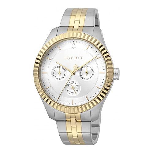 Esprit Reloj de pulsera para mujer ES1L202M0105 Flute Silver Gold MB