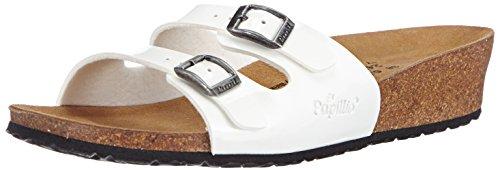 Papillio Damen Anne Birko-Flor Offene Sandalen mit Keilabsatz, Weiß (White Patent), 39 EU