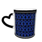 XCNGG Taza de café con forma de conciencia del cáncer de colon que cambia de color, taza divertida de cerámica sensible al calor