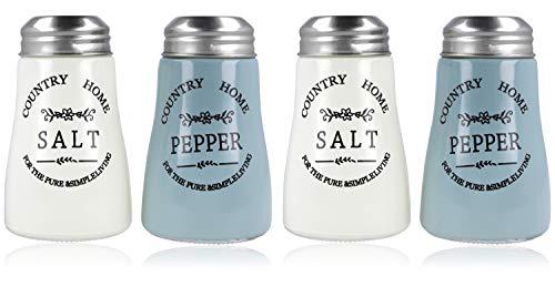 com-four® 4x Gewürzstreuer aus Glas, Salzstreuer und Pfefferstreuer im altenglischen Landhausstil, Country-/Western-Style, optimal für grobes Salz & Peffer (04 Stück)