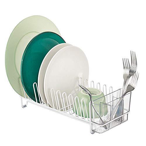 mDesign Escurridor de vajilla – Rejilla escurreplatos para la encimera o el fregadero – Bandeja escurreplatos con cubertero de 3 compartimentos de plástico – blanco/transparente