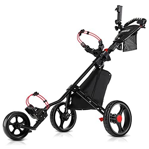 JANUS Golf Push Cart, Golf cart for Golf Clubs, Golf Pull cart for Golf Bag, Golf Push carts 3 Wheel Folding, Golf Accessories for Men Women