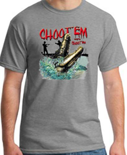 Shirt Patron Brand Swamp People Choot Em Alligator Hunting Mens T Shirt 2XL Gray