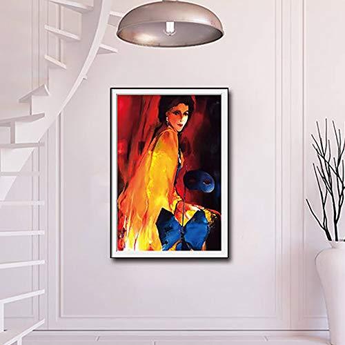 ganlanshu Sphärische Maske Mädchen Leinwand Hauptdekoration Wohnzimmer Dekoration abstrakte Mädchen Ölgemälde HD Kunst,Rahmenlose Malerei,45x67cm