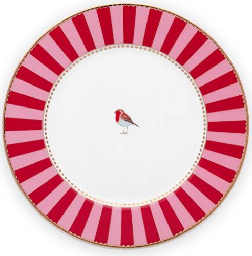PiP Studio Plate Love Birds Stripes Red-Pink 17cm