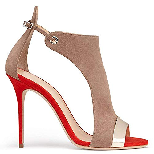 Women's Stilettos Pumps, Dress Sandals Fashion High Heel Fish Sandals,Buckle Slingback Shoes Red Size 6