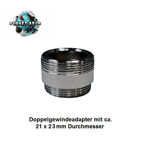 Wasserhahn Gewinde Adapter, Doppelgewinde ca. 21x23mm Anschluss Verbinder für die Umkehrosmose Osmoseanlage mit dem Universaladapter an die Küchen Armaturen. Wasserfilter Osmose
