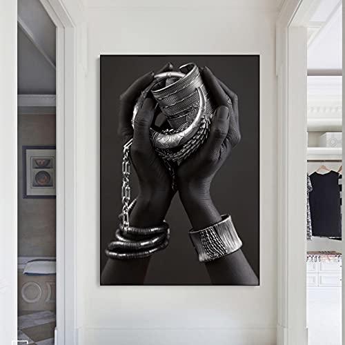 NFXOC Pulsera de Plata Moderna, póster con impresión en Lienzo, Piel Negra Africana, Pintura para Mujer, Imagen para Sala de Estar, decoración de Pared para el hogar (70x90cm) sin Marco