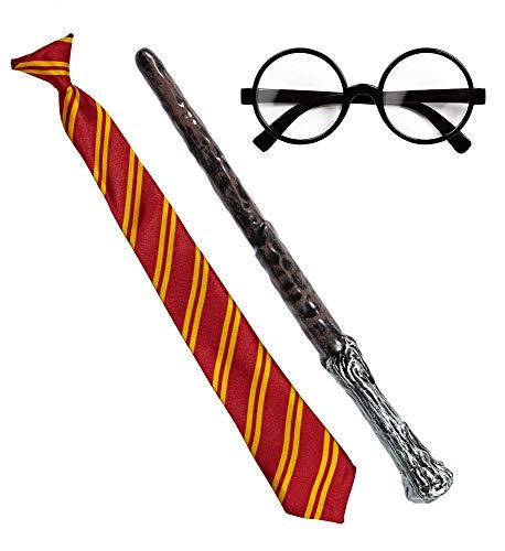 shoperama Zauberer Set Krawatte Zauberstab Brille Kostüm-Zubehör Erwachsene Schlips Zauberlehrling