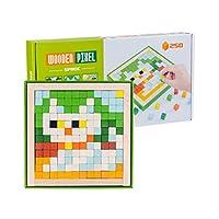 jojofuny 1セット子供モザイクパズルおもちゃ3d木製ジグソー遊具diy教育工学パズルおもちゃ子供動物パターンビルディングブロックプレイセットマーカーペンセット1
