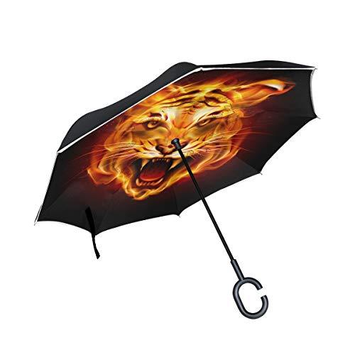 Rode winddichte Tiger Flame met dubbele omgekeerde laag voor paraplu's buitenshuis met C-handgreep.