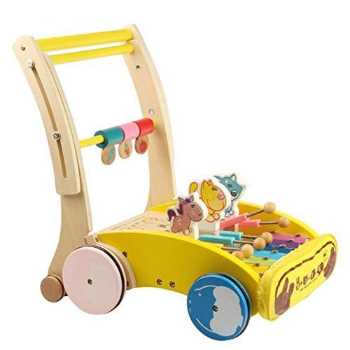 NYANGLI Baby Walker, Hölzern Wagen, Junges Kind Puzzle Spielzeug, 0-1-3 Jahre Alt Kind Gehhilfe Geburtstag Geschenk,Yellow3,39 * 36 * 30cm