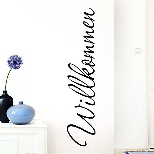 Grandora Wandtattoo Wort Willkommen I schwarz 13 x 58 cm I deutsch Flur Diele Eingang selbstklebend Aufkleber Wandaufkleber Wandsticker W1099