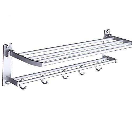 LKHF Estante de Ducha montado en la Pared Aluminio Metal Toalla de baño Perchero Bandeja de Ducha Diseño práctico Plegable para baño Dormitorio