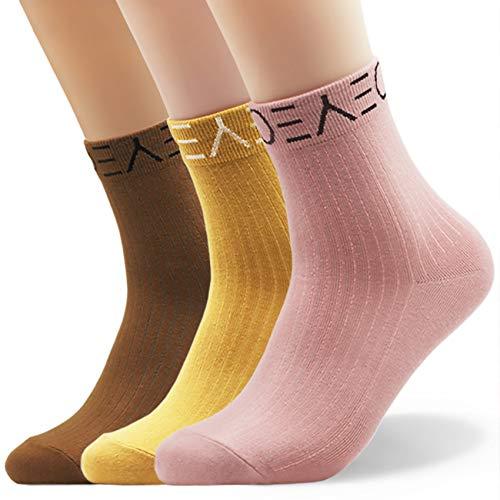 Seoulmade Socken Damen 35-39 I Premium Qualität 3 Paar Streetwear Tennissocken Set I Coole Schöne Fusselfreie Frauen Sneaker Sportsocken in Bunt (Rosa, Gelb, Braun)
