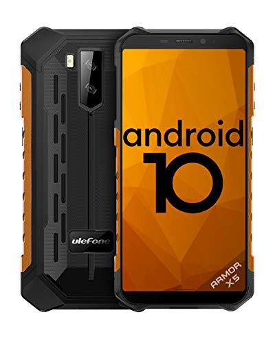 Telefono Móvil Libre Resistente,Ulefone Armor X5 Android 10 4G Octa-Core 3GB+32GB - 5.5'' HD Resistente IP68 Impermeable Smartphone, Cámara 13MP+2MP,5000mAh batería, Dual SIM,GPS,NFC,OTG-Naranja