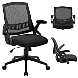 SAMOFU Office Chair, Ergonomic Mid-Back Desk Chair, Mesh Computer Task Chair with Flip-up Armrests and Lumbar Support & Thick Cushion, Black