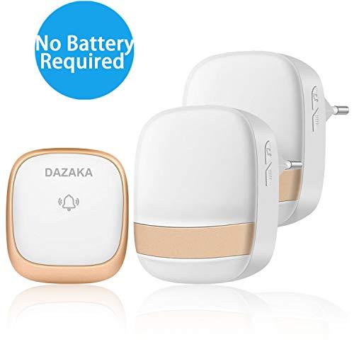 Preisvergleich Produktbild DAZAKA Türklingel Batterielos,  Funkklingel Aussen Wasserdicht Ohne Batterie mit 2 Empfänger,  LED Anzeige,  150M Reichweite,  36 Melodien,  4 Lautstärkestufen