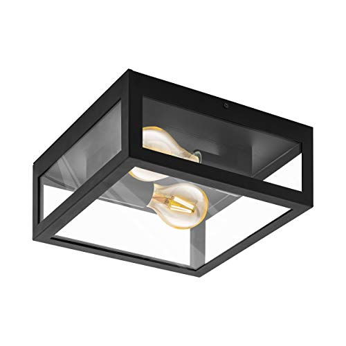 EGLO Deckenlampe Amezola, 2 flammige Wandlampe, Deckenleuchte Industrial, Vintage, Wohnzimmerlampe aus Stahl und Glas, Küchenlampe in Schwarz, Klar, Badezimmer Lampe mit E27 Fassung, IP44