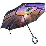 Reloj de visión Invertida de Doble Capa Televisor Buena Vista Rayo de Sol Ojos Gafas Paraguas Paraguas Plegable inverso