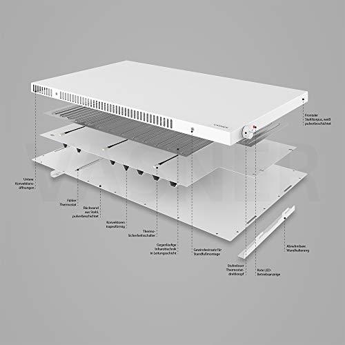VASNER Konvi Plus Design Infrarot-Hybridheizung 600 Watt weiß re Ecken 60x60cm Thermostat Bild 5*