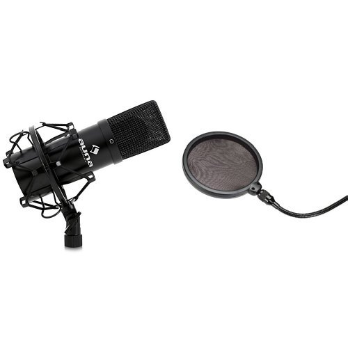 Auna MIC-900B USB Kondensator Mikrofon für Studio-Aufnahmen inkl. Spinne (16mm Kapsel, Nierencharakteristik, 320Hz - 18KHz) schwarz + Samson PS 01 professioneller Pop Filter - Popschutz - Popfilter - für Studiomikrofone Bundle