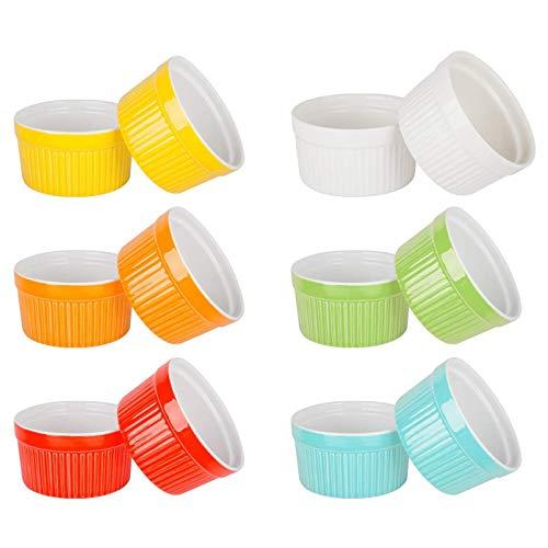 tellaLuna 12 Piezas Moldes para Hornear Moldes de Porcelana Redondos Horno Seguro Molde para Postre Plato para Hornear Soufflé
