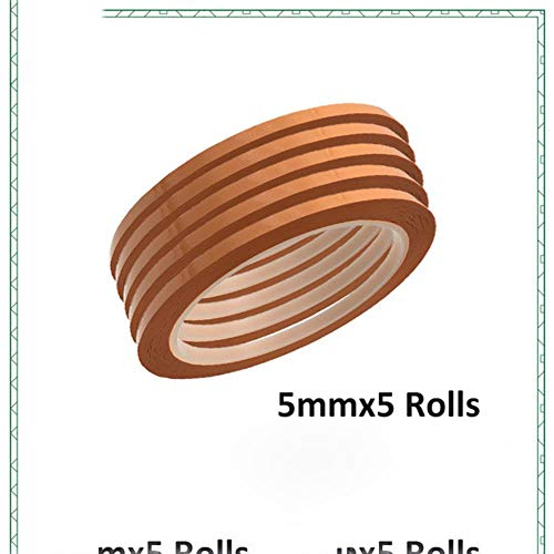 5Pack 5mm breites Isolier-Mylarband Flammschutzmittel für Spule, Transformator, Draht, Batterieverpackung, Hochtemperatur 50 Meter/Rolle, Orange, 5 mm x 5 Rollen