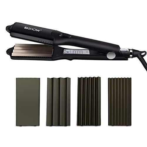 DSHOW 4 in 1 Hair Crimper Hair Waver Hair Straightener Curling Iron with 4 Interchangeable Titanium Ceramic Flat Crimping Iron Plate (BLACK)