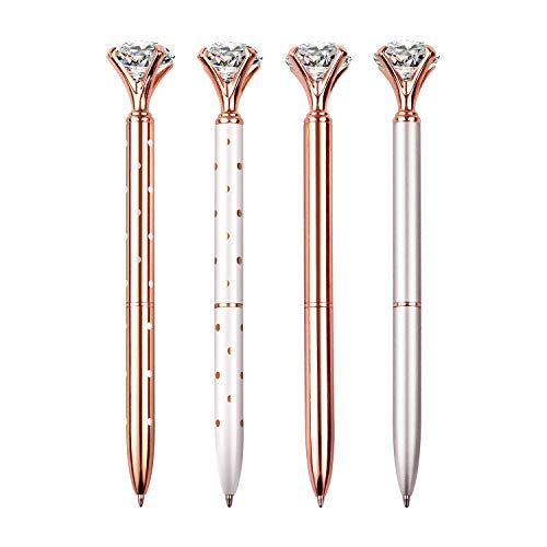 4 PCS Diamond Pen With Big Crystal Bling Metal Ballpoint Pen, Office Supplies And School, Rose Gold/White Rose Polka Dot/Silver/Rose Gold With White Polka Dots, Includes 4 Pen Refills