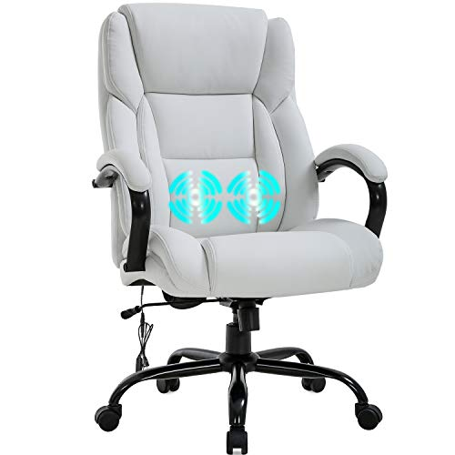 Office Chair Desk Chair Computer Chair with Lumbar Support Headrest Armrest Swivel Rolling PU Leather Task Big and Tall 500lb Wide Seat Massage Ergonomic Chair Adjustable for Adults Women(White)