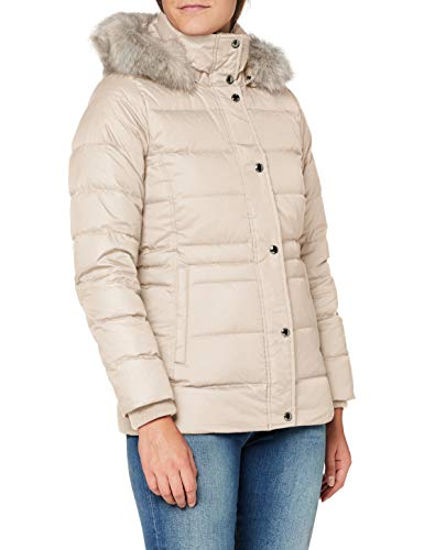 Tommy Hilfiger TH ESS Tyra Down Jkt with Fur Chaqueta, Vintage White, L para Mujer