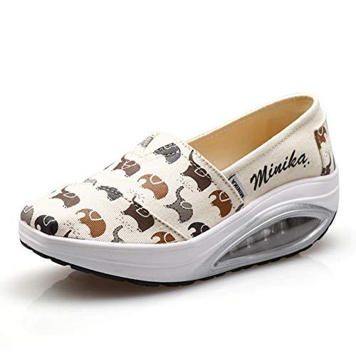AHOES-HY vrouwen Mesh Platform wandelschoenen lichtgewicht Slip-On Fitness Work Out Sneaker schoenen Laag-Top 39 Beige