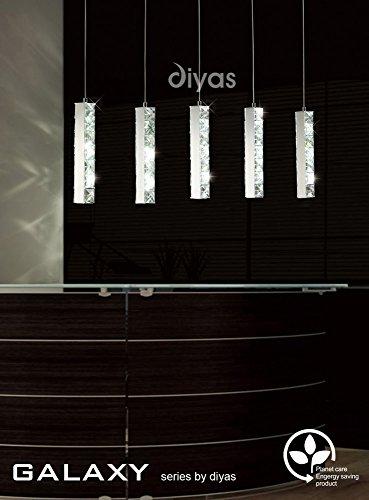Diyas IL70035 Galaxy Pendant 5 Drop - Lámpara LED (15 W, 6000 K, cromo/cristal)