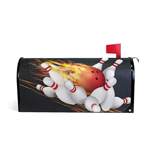 Wamika Rouge Boule de Bowling Flammes Bienvenue magnétique Boîte aux Lettres Boîte aux Lettres Coque stratifiées, Noir Standard Taille Makover Mailwrap Garden Home Decor 64.7x52.8cm Multicolore