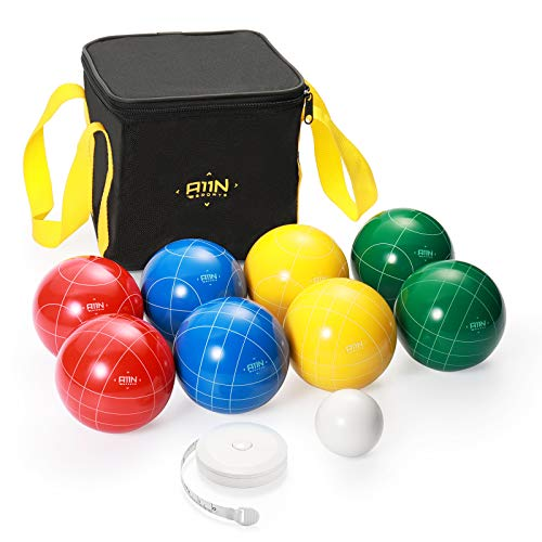 A11N 90mm Bocce Ball Set with 8 Balls in 4 Colors, Pallino, Carrying Bag, and Measuring Tape for Backyard, Lawn, Beach Game